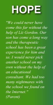 Testimonial from parent:  'We could never have come this far without the hlp of Liz Gordon .  Our son has come a long way and the therapeutic school has been a great experience for him and us.  I would never pick another school on my own without the help